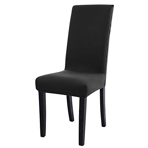 sourcing map Spandex Stretch Removable Washable Dining Room Stool Chair Cover Protector Slipcover Black