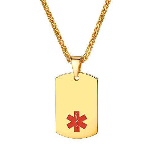 Collar Dorado de Alergias Placa de Identidad Militar Medalla Cuadrada Rectangular Colgante Personal de Regalo a Madres Padres Amigos Acero Inoxidable 316L