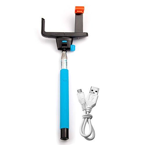 JZK ® E-selfie stick-Bastone per selfie, con supporto regolabile telescopico, allungabile impermeabile Bluetooth avvio ritardato controllo per scatto a distanza, compatibile con tutti i tipi di smartphone, iPhone, Samsung, Sony, LG, Blackberry, HTC, Nokia Huawe Wiko, colore: blu