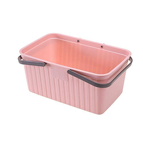 Kcakek Portable Bath Basket Badkuip Basket Wassen Plastic Diversen Storage Basket Bath Basket Mobile Portable doorweken Basket Toiletries Conditioner Holder Portable Organizer (Color : Pink)