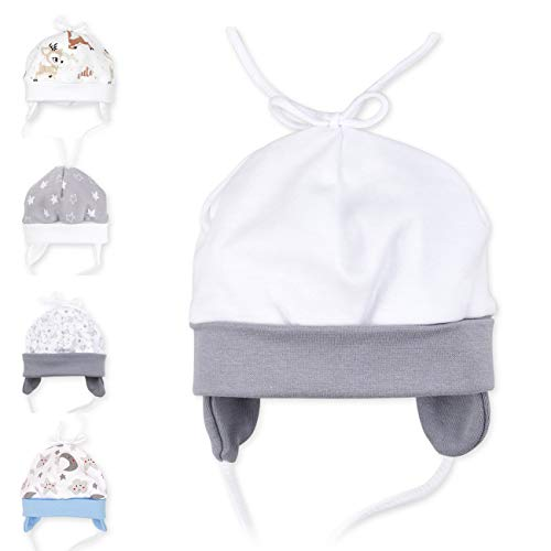 Baby Sweets Unisex Baby Mütze für Mädchen und Jungen in Grau Weiß als Erstlingsmütze im Design I Love Mama & Papa/Babymütze für Neugeborene & Kleinkinder zum Binden in der Größe: 3 Monate (62)