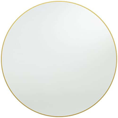 Harmati Round Mirror Circle Gold - Circular Mirror 20 Inch Metal Framed Wall Mounted, Hanging Brass Round Wall Mirror Modern Decorative for Bathroom, Living Room, Bedroom, Entryway
