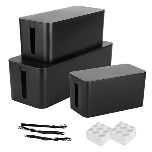 SHANQIAN 3PCS Boîte de Rangement pour Câbles, Organisateur de Cordon Multiprise Boîte Cache Câbles Fils Electriques, Cache Multiprise Noir avec 20 3M Autocollants Double Face et 3 Attaches de Câble