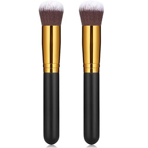 2 Pack Self Tanner Brush Kabuki Foundation Brush Large Sunless Tanning Face Brush Easily Apply Self Tanner to Face and Blend Areas for Men Women (Round Head)