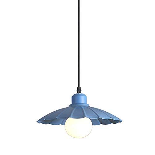 WYZXR Metall-LED-Kerzenhalter, industrielle E27-Pendelleuchte, Pendelleuchte für Kinder, Kaffeemaschine, Couchtisch, Schlafzimmer-Deckenleuchte, gelb, blau, pink, grün (Farbe: blau)