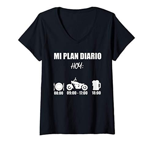 Mujer Motocicleta horario diario cerveza motociclista diciendo Camiseta Cuello V