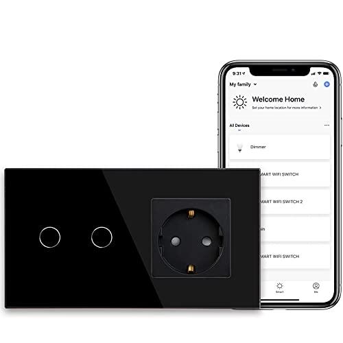 BSEED Presa Schuko normale con sensore di alimentazione WiFi Smart Alexa, interruttore (conduttore neutro) 16 A, presa di corrente in vetro, 2 prese, 1 via, lampada da parete nera