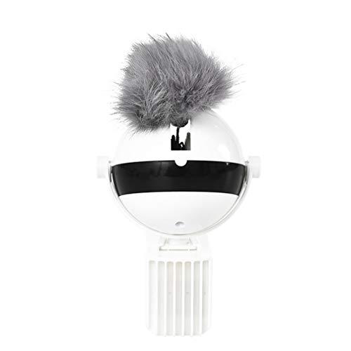 WEQQ Pet Smart Rabbit Hair Ball Juguete de elevación automático Juguete eléctrico para Gatos Suministros para Gatos (Blanco + Gris)