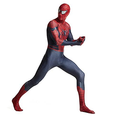 Trajes de Fiesta temática Cosplay Body Boy Girl Games Onesies Mono de superhéroe Adulto Carnaval Fiesta de Halloween Zentai Lycra Spiderman Disfraz,Red-Adult/L/160~175cm