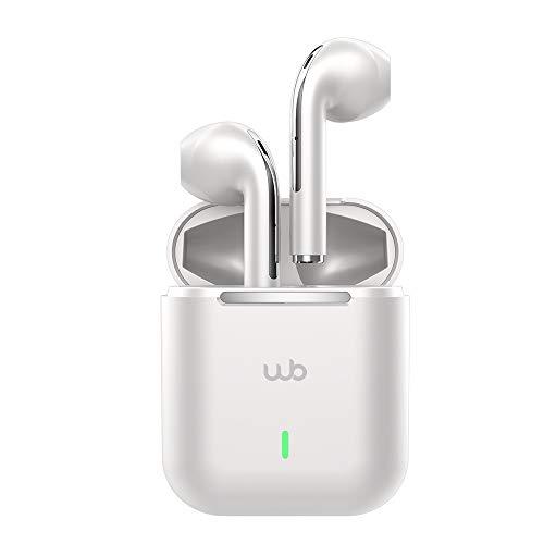 Fone de Ouvido WB Pods Prata Sem Fio TWS Bluetooth 5.1 Controle por Toque 20+ horas de Reprodução Hifi Sound