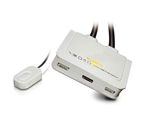 InLine 63613I KVM Switch, 2-fach, BildschirmPort 1.2, 4K, USB, mit Audio, integr. Kabel