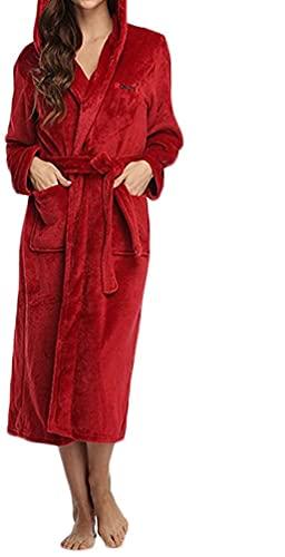 Eghunooze Albornoz para mujer, esponjoso, súper suave, con capucha, para mujer, forro polar, perfecto para salón, bata larga de invierno cálida, rojo vino, M