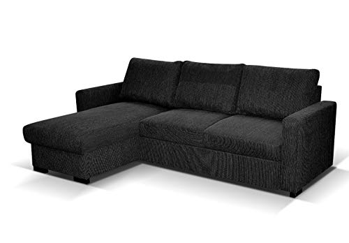 Amazing Sofas L- shaped CORNER SOFA BED Tokio with STORAGE - DARK GREY. Fire resistant as per British Standards, foam filled seats for comfort.
