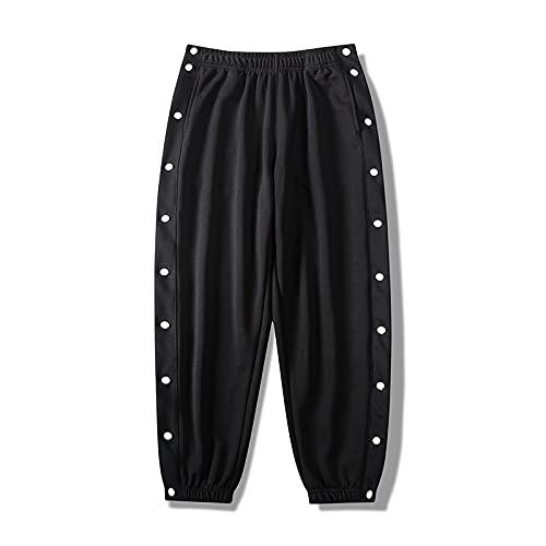Pantalones Casuales de Moda para Hombres Primavera y Verano Diseño de Botones Laterales Rectos Sueltos...