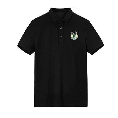 Polo da Uomo Business Risvolto T-Shirt Milwaukee Bucks Casual All'aperto Mezza Manica S-3XL Black-L