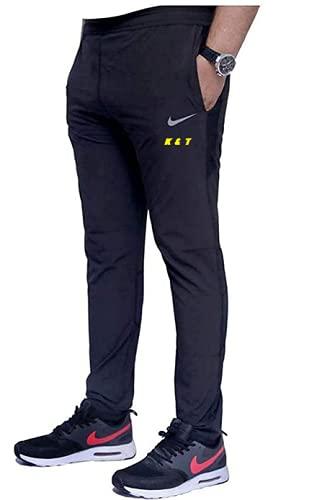 K&T Regular Fit Men Gray/Black Stripe Cotton 4-Ways Blend Sports Track Pant(Size L-40)