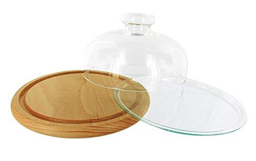 Trendglas Jena Käseglocke mit Bambus- und Glasunterteller, 17 cm