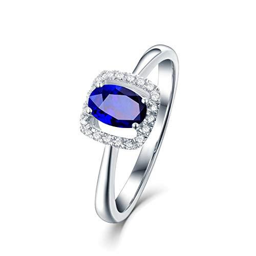 Daesar Fedine Fidanzamento Oro Bianco 18K Anello Donna Vintage 1.36ct Zaffiro Quadrato Vuoto Blu Ovale Anelli con Diamanti Anelli di Matrimonio Oro Bianco Misura 21