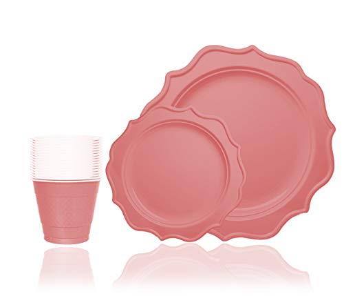 Tiger Chef 144-Pack Pink Color Round Scalloped Rim Disposable Plastic Plate Set for 48 Guests Includes 48 10-Inch Dinner Plates, 48 8-Inch Salad Plates - BPA-Free