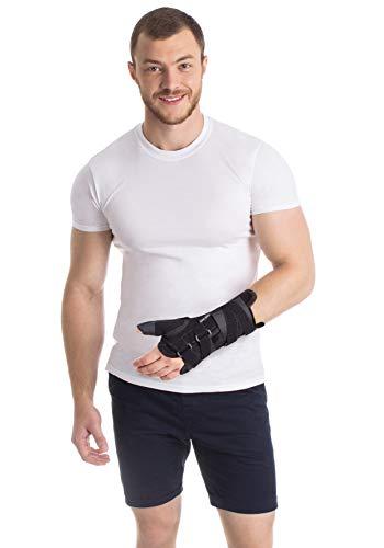 Handgelenkstütze mit Daumenstütze der rechten Hand aus dem hochwertigsten Neopren Schwarz Medium