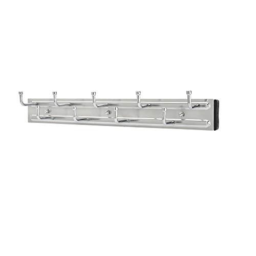 Rev-A-Shelf BRC-14CR 14-Inch Wall Mounted Pullout Closet Belt and Scarf Organization Rack Accessories Holder Hanger with 9 Hooks, Chrome