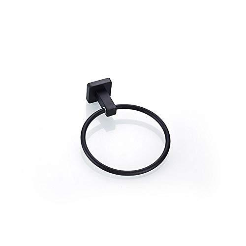 Ghelf Toallero redondo de acero inoxidable 304 acero inoxidable negro anillo de toalla de baño sin perforaciones, barra de toalla de luz brillante impermeable resistente a altas temperaturas