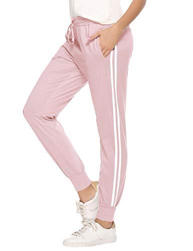 Aibrou Jogginghose Damen Sporthose Freizeithose Traininghose Baumwolle Lang für Jogging Laufen Fitness mit Streifen Pink-1 L
