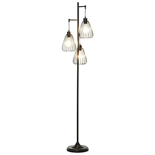 lampada da terra 3 piedi homcom Lampada da Terra Design Vintage Industriale in Metallo Nero