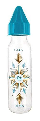 dBb Remond Biberon Verre au Motif Art Déco Forme Cylindrique Bleu Canard 240 ml