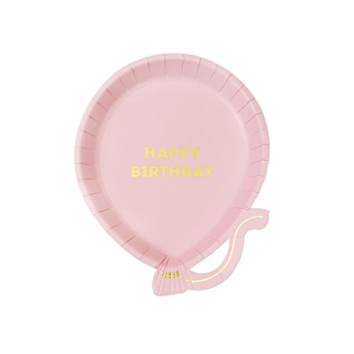Talking Tables We Heart Birthdays, Happy Birthday ballon kartonnen borden, roze, 18 cm (12 stuks in 1 design)