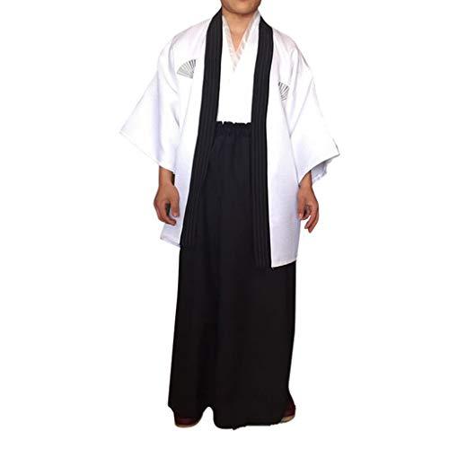 DANDANdianzi Hombres tradicionales raya Samurai ropa japonés kimono del traje de Cosplay del traje