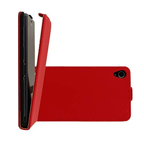 COOVY® Custodia per Sony Xperia Z3 Slim Flip Cover Case della Copertura di Vibrazione Protezione, Pellicola Protettiva per Schermo | Colore Rosso