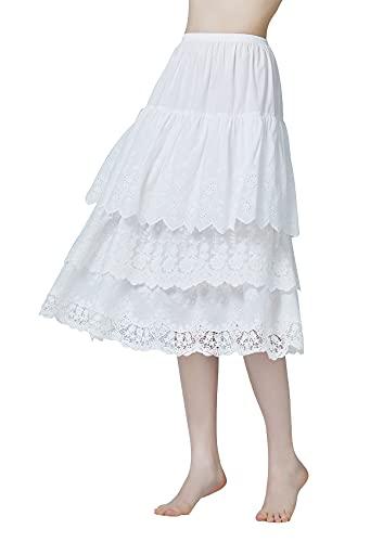 BEAUTELICATE Halber Unterrock Damen 100% Baumwolle Vintage Lang Halbrock Mit 3 Schichten Spitze Stickerei Röcke Petticoat Elfenbein 75CM