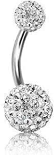 14g Swarovski Crystal Belly Button Navel Ring Bling Surgical Steel Body Piercing Jewelry by 7Z ACC