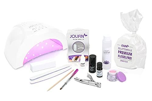 Jolifin Nagelstudio Einsteiger Starter Set für Gel Nägel + UV LED Lampe für Nagelverlängerung