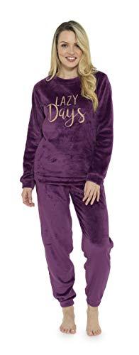 CityComfort Ladies Warm Fleece Towsie Pyjama Set Soft Lounge Wear for Women, 16-18, Deep Purple