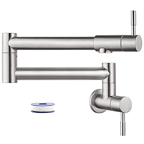 Heyalan Pot Filler Brushed Nickel Wall Mounted Folding Stretchable Kitchen Restaurant Sink Faucet with Double Joint Swing Arm Single Hole Two Handles Commercial NPT Stainless Steel