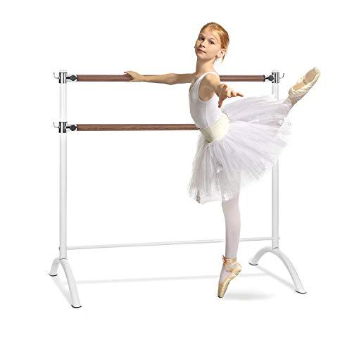 Klarfit Barre - Barra de Ballet Doble, 2 x 38 mm de diámetro, Recubrimiento de Goma Antideslizante, Altura Flexible, Material Acero con Aspecto de Madera, Soporte Curvado, 220 x 113 cm, Blanco