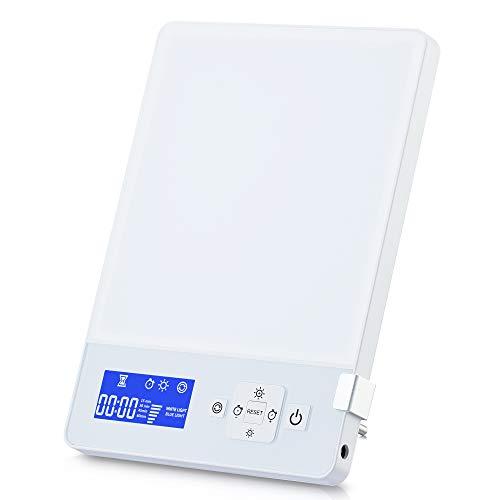 Aourow Tageslichtlampe LED 10000 Lux mit 5 Helligkeitsstufen Dimmbar,Simuliert Tageslicht/Lichtdusche/Sonnenlicht mit Einer Lichtintensität von 10,000 Lux,Kaltes Weiß und Blau