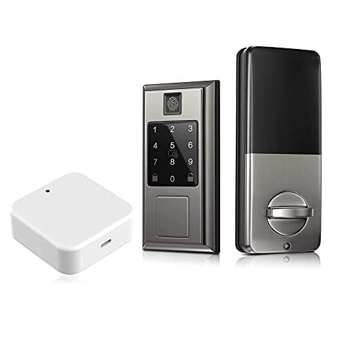 Oasbike Fingerprint Smart Door Lock with Bluetooth Smart Door Lock, Touchscreen Keypad, Keyless Entry Door Lock Featuring Auto-Locking & Single Cylinder Handleset Front Door Handleset