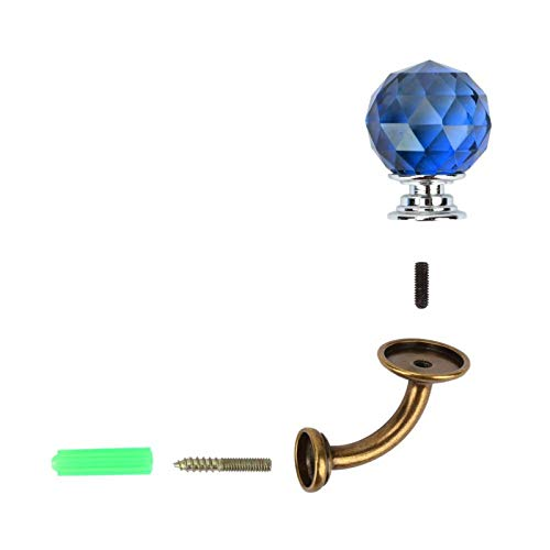 Perchero de cristal Gancho de montaje en pared Baño Guardarropa Perchero Soporte de aleación de zinc(Azul)