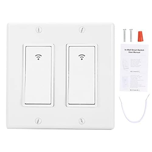FOLOSAFENAR Interruptor de luz WiFi Programación de Tiempo Control de Voz Manos Libres Interruptor Inteligente WiFi Tono táctil Claro, para el hogar(2 Teams)