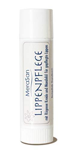 MeraSan Lippenpflegestift - Naturkosmetik Lippenbalsam Schutzbalsam mit Bienenwachs, Mandelöl, Sheabutter, Kakaobutter und Rügener Heilkreide - 4,5 g