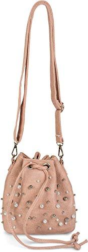 styleBREAKER kleine Bucket Bag Beuteltasche mit Perlen, Umhängetasche, Schultertasche, Handtasche, Tasche, Damen 02012248, Farbe:Altrose