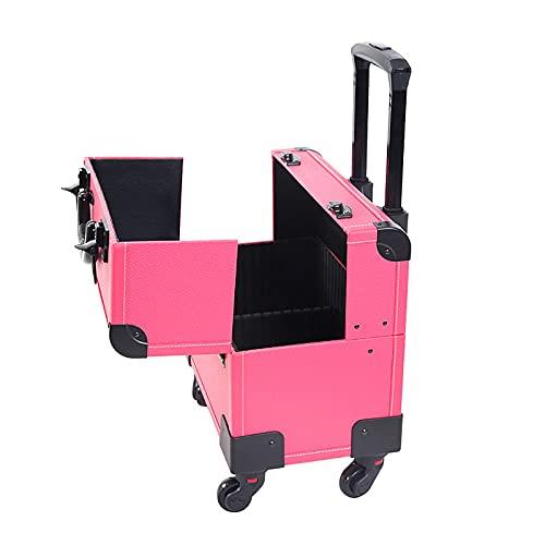 MIAE Trolley per Il Trucco, 3 in 1 Scatola Portaoggetti per Cosmetici con Rotelle in Alluminio Portatile, con Ruote, per La Bellezza E La Cura della Persona