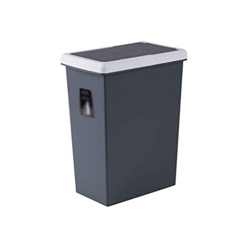 1yess Mülltonne aus Mülleimer Faltende Deckel Mülleimer Can Room Plastic Mülleimer Haushaltsküche Badezimmer Mülleimer mit Deckel Abfall Müll Mülleimer (Farbe: Grau, Größe: 10l)