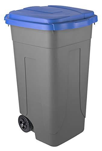 Bidone raccolta differenziata Mobil Plastic Lt. 80 con ruote - Fondo grigio e coperchio blu