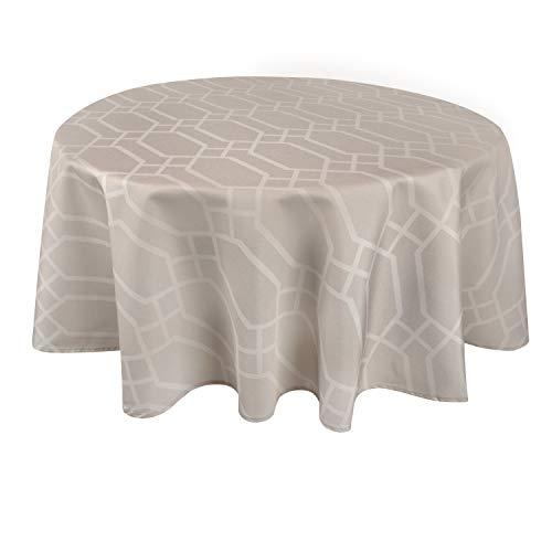 Valia Home Tischdecke Tischtuch Tafeldecke abwaschbar wasserdicht schmutzabweisend Lotuseffekt pflegeleicht Teflon behandelt rund 140 cm beige