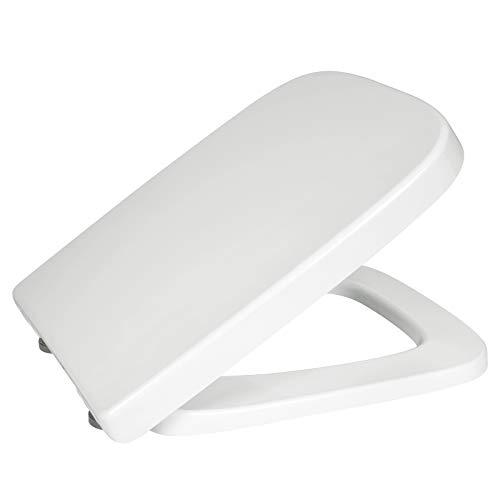 eSituro STS0184 Toilettendeckel Klodeckel Wc Sitz mit Absenkautomatik Fast Fix/Schnellbefestigung Duroplast Eckige Form