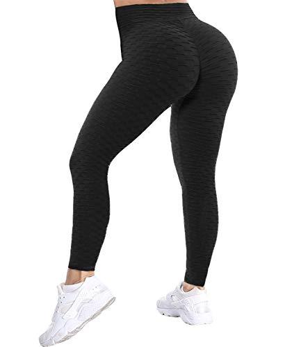 COMFREE Damen Scrunch Butt Lifty Leggings Honeycomb Cellulite Textured Leggings High Waist Yoga Pants Booty Tights Leggins Sport Gym Schwarz S